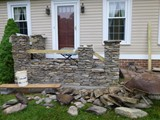 Custom Stone Masonry Stairway and Entrance In Progress 2
