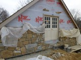 Natural Stone Veneer in Progress Garage Gable End
