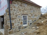 Raised Ribbon Mortar Joint. Natural Stone Veneer,  Reclaimed Field Stone.