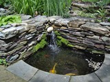 Water Feature, Koi Pond with Stacked Stone Garden Wall